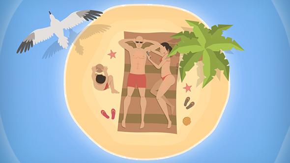 Ylhäältä Cartoon Family Island - Cartoons Taustat Motion Graphics