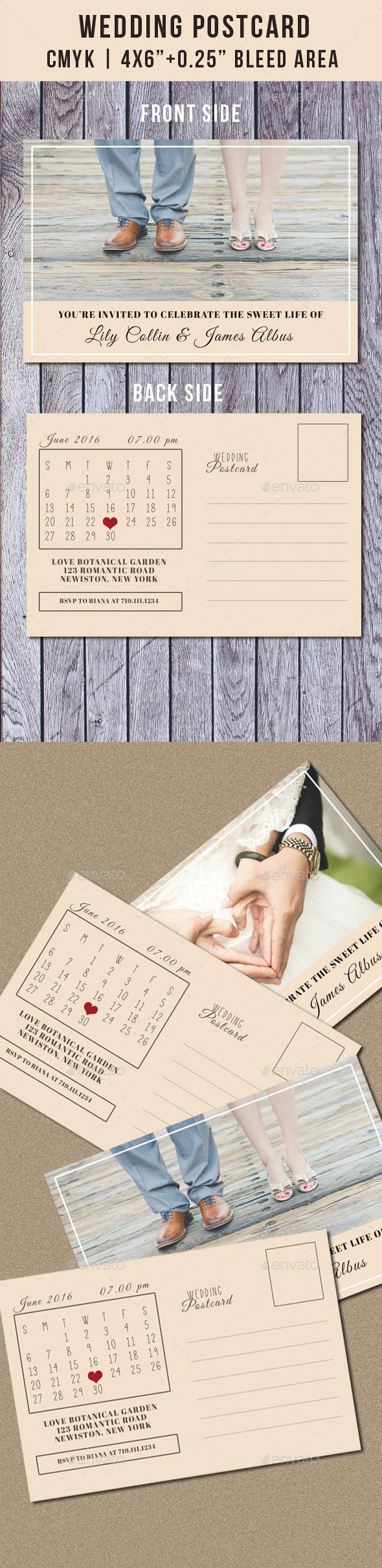 Wedding Postcard Invitation with Calendar Vol.2