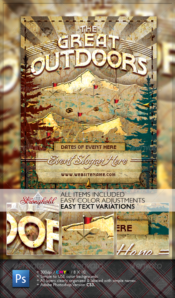 GraphicRiver Vintage Great Outdoors Nature Flyer 1625613