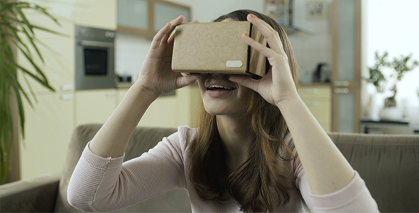 Download Girl Trying Cardboard VR Headset nulled download