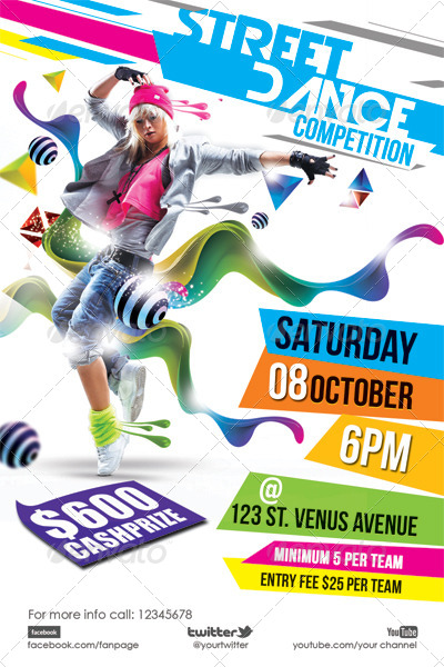 Street Dance Flyer Template by hermz | GraphicRiver