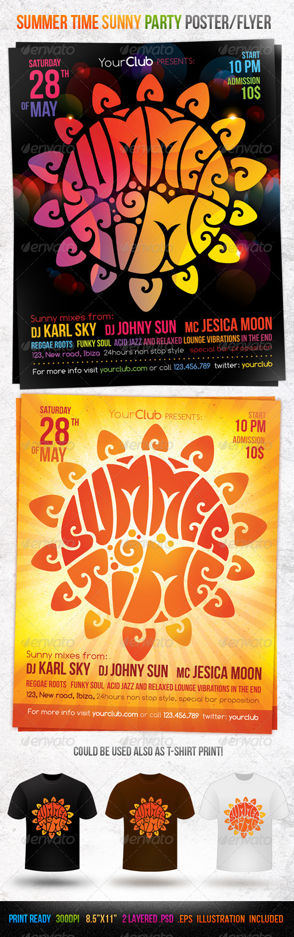 Summer Time Sunny Party Poster/Flyer - Clubs & Parties Events
