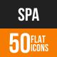Spa Flat Round Icons