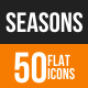 Seasons Flat Round Icons