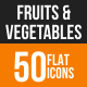 Fruits & Vegetables Flat Round Icons