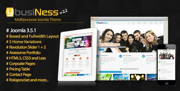 theme preview.  large preview - YbusiNess - Responsive Joomla Business Template