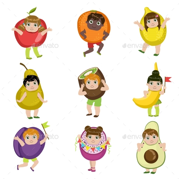 Kids Dressed As Fruits