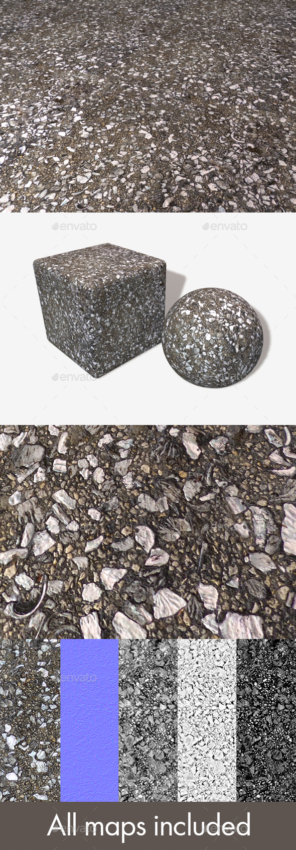 Recycled Shell Asphalt Seamless Texture - 3DOcean Item for Sale