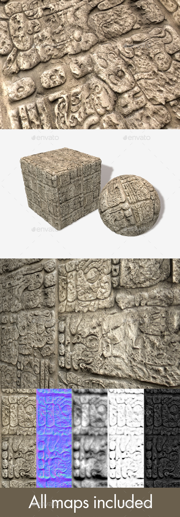 Temple Wall Carving Seamless Texture - 3DOcean Item for Sale