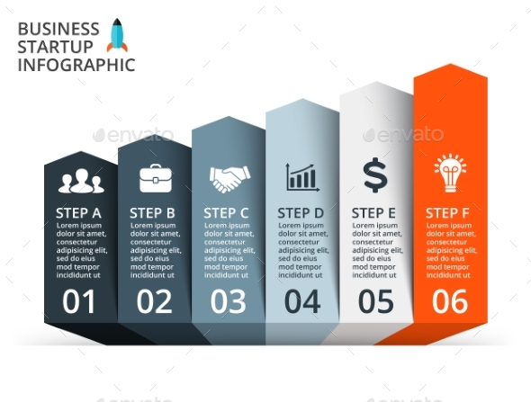 6 Up Arrows Graph. Startup Infographic. PSD, EPS, AI