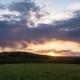 Beautiful Clouds At Sunset, The Sun Goes Below The Horizon.