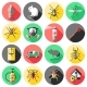 Pest Control Flat Icons Set