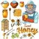Hand Drawn Honey Icon Set