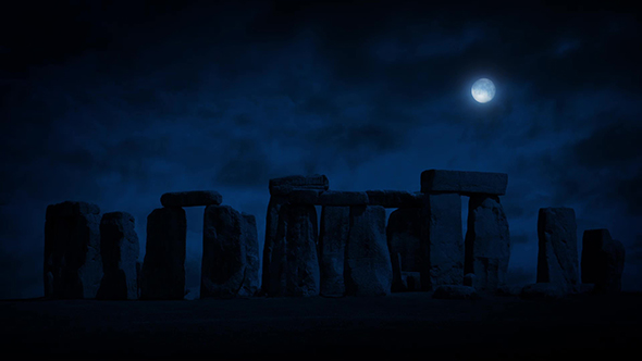 Stonehenge yöllä Full Moon - Taustat Motion Graphics