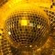 Golden Disco Mirror Ball Turning Around