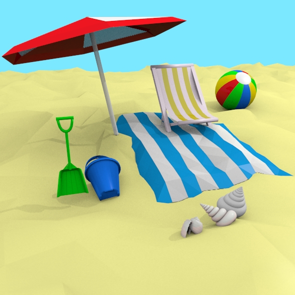 3D Beach Set - 3DOcean Item for Sale