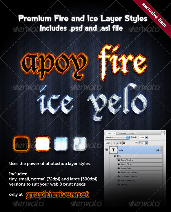 GraphicRiver Premium Fire and Ice Layer Styles 63578