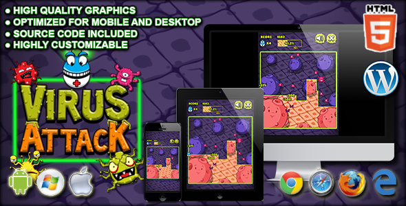 Download Virus Attack - HTML5 Arcade Game nulled download
