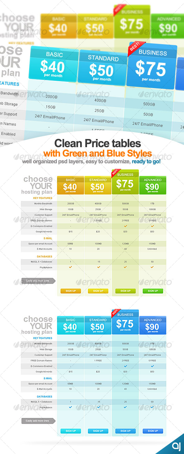 Clean and Clear 2 Pricing Table Designs # eL013