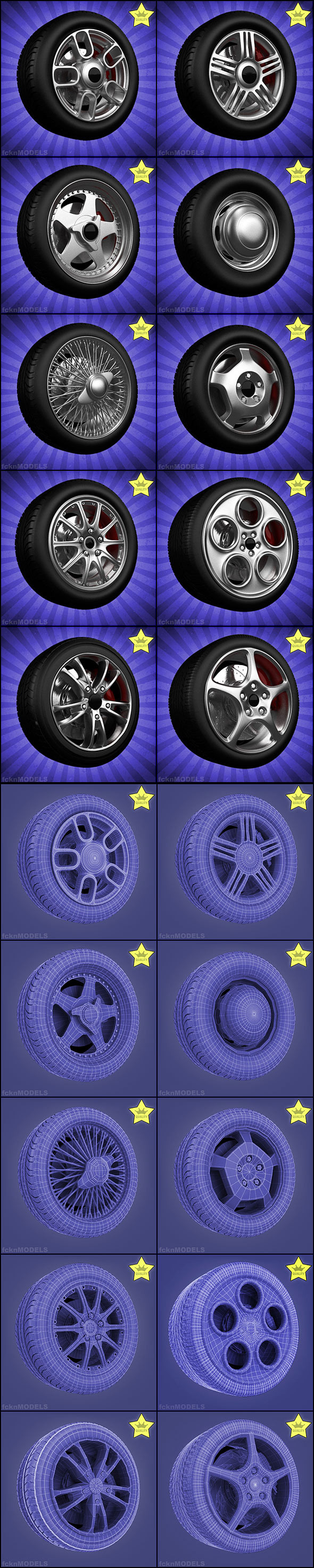 3DOcean High detailed wheels collection 10 wheels 1627464