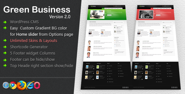 ThemeForest Green Business Wordpress CMS Template 40122