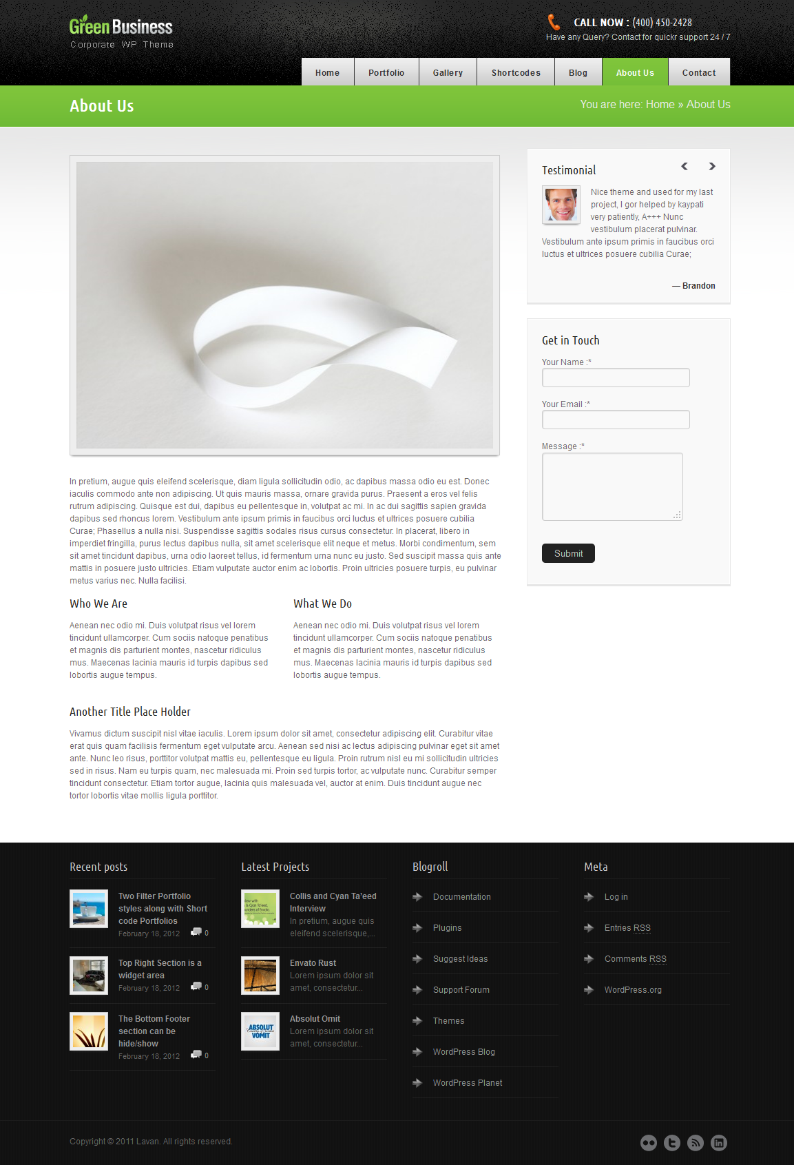 Green Business Wordpress CMS Template