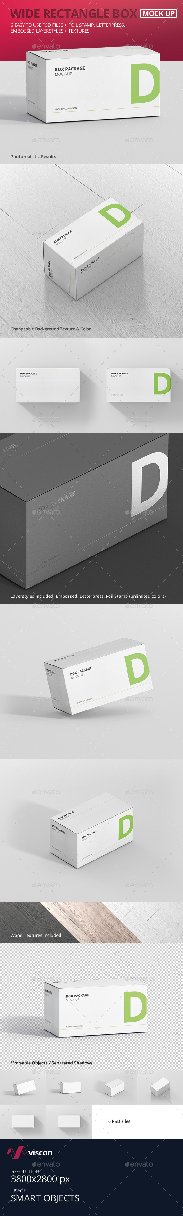 Package Box Mock-Up - Wide Rectangle