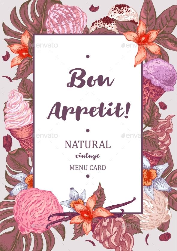 Menu Fruit Ice Cream Guest Card
