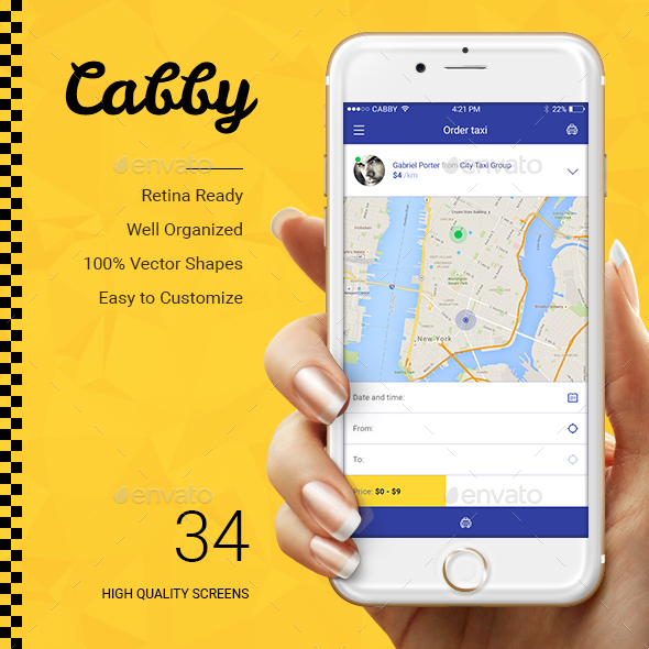 Cabby — Taxi Service Mobile App UI (User Interfaces)