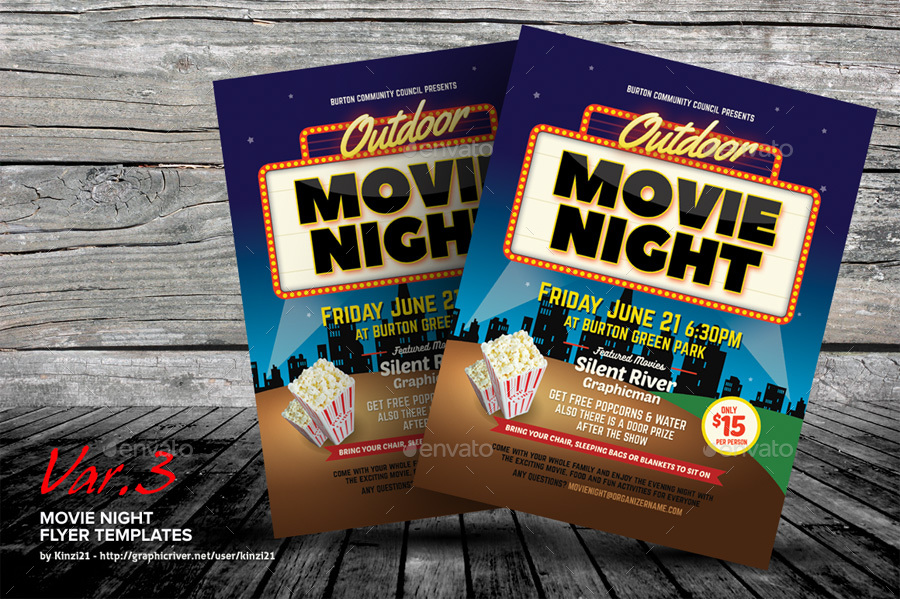 Movie Night Flyer Templates by kinzi21 – Movie Night Flyer Template
