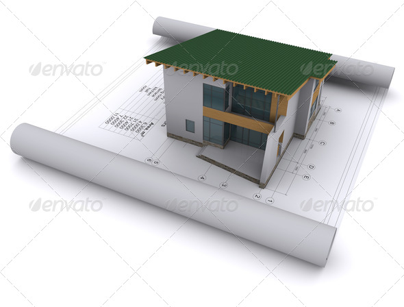 Stock Photo - PhotoDune house with a green roof is on the construction drawings 1629455
