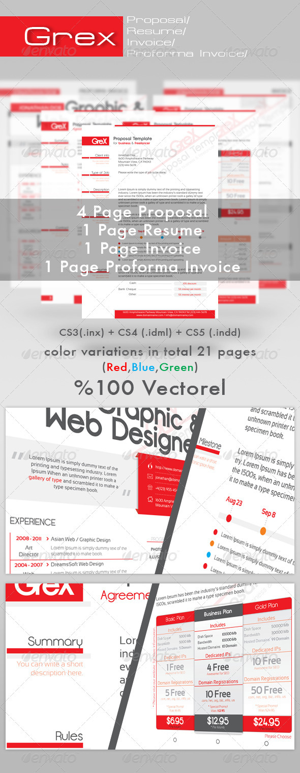 GraphicRiver Grex Proposal Resume Invoice Template Package 490929