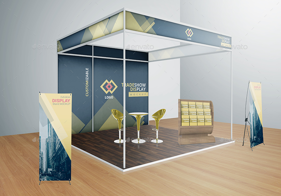 Exhibition Stand Design Mockup Free Download : Various tradeshow exhibition booth mockups by vectogravic
