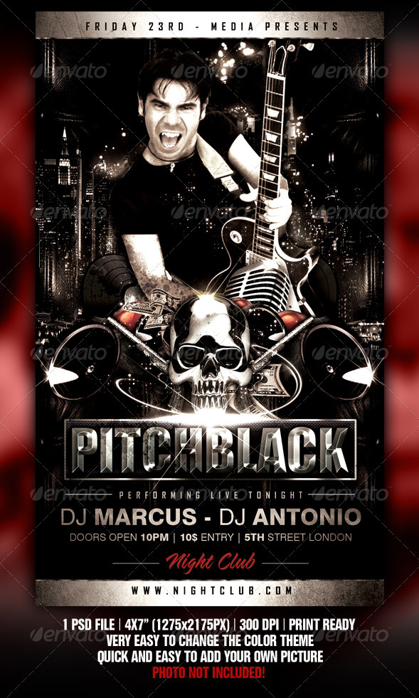 Pitch Black Flyer - Clubs & Parties Events