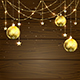 Christmas Baubles on Wooden Background