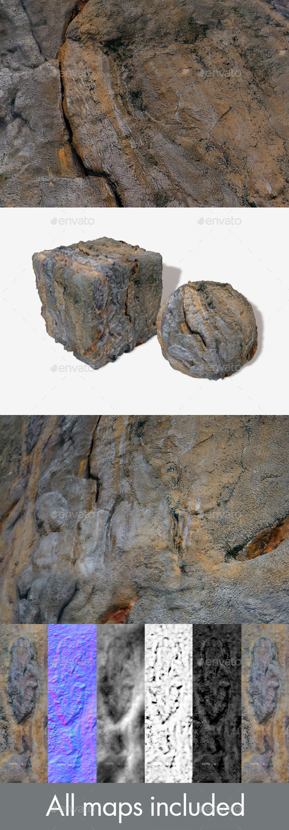 Artificial Rock Face Seamless Texture - 3DOcean Item for Sale