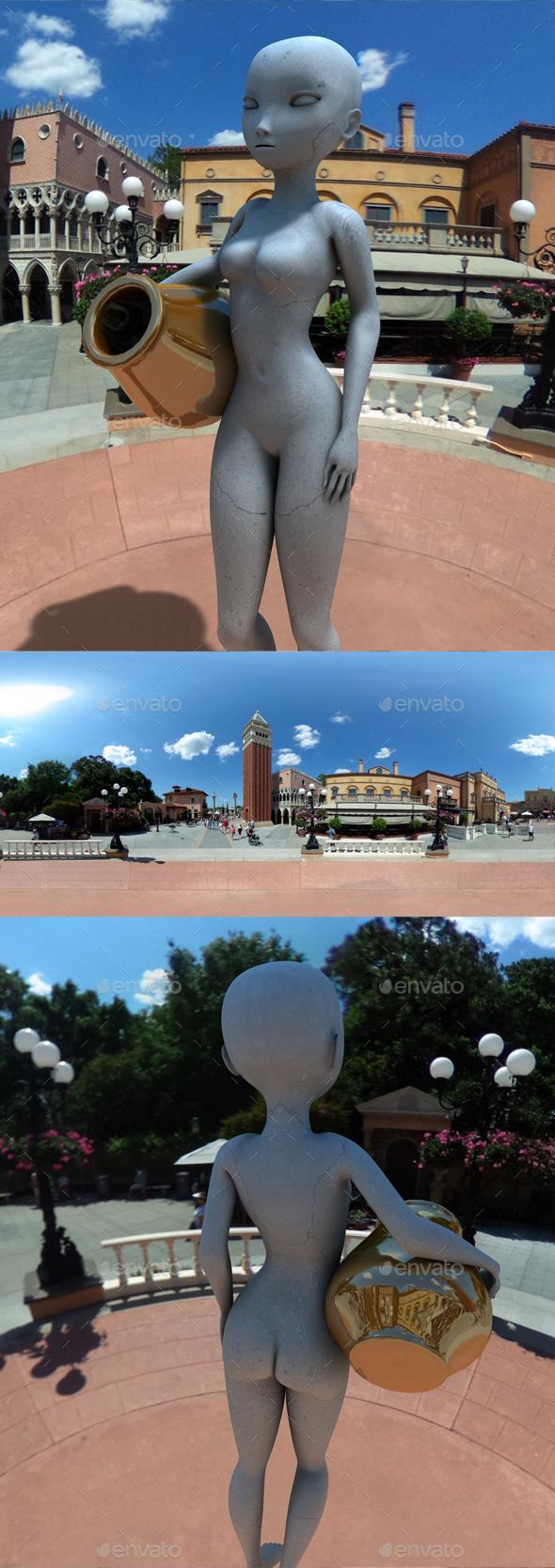 Sunny Italian Town Square HDRI - 3DOcean Item for Sale