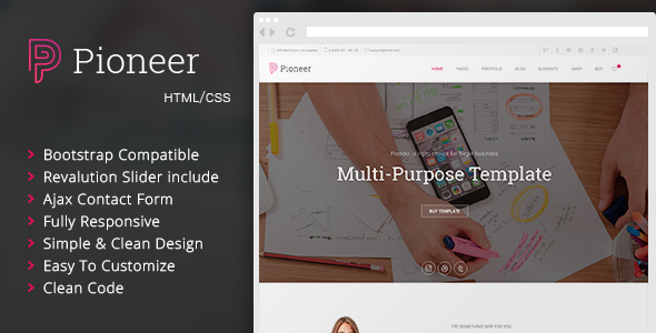 Pioneer - Multi-Purpose HTML 5 / CSS 3 Corporate Template