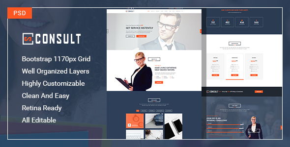 Consult-One Page PSD Template specially for consultancy, agency with multipurpose concept