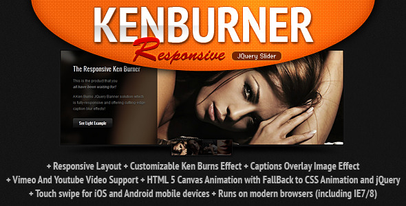 Responsive KenBurner Slider jQuery Plugin - CodeCanyon Item for Sale
