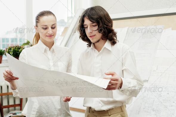 Busy architects - Stock Photo - Images