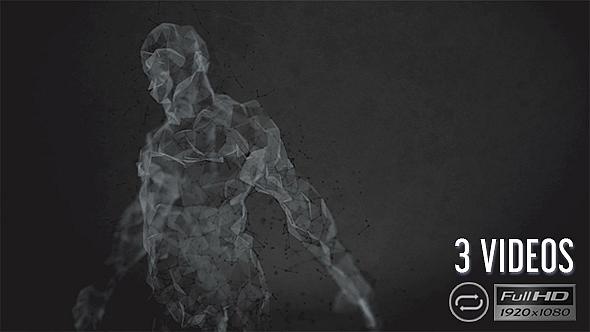 Plexus Human siluetti - Dark Style - 3 Pack - Medical Taustat Motion Graphics
