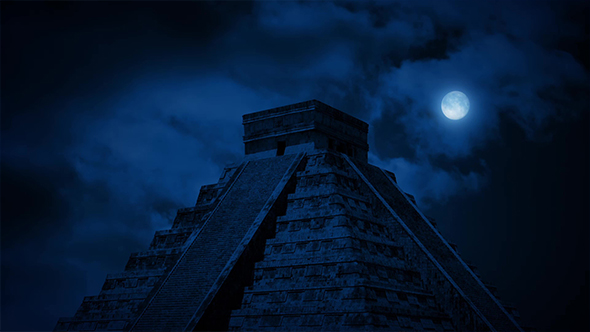 Antiikin Aztec Pyramid At Night - Taustat Motion Graphics