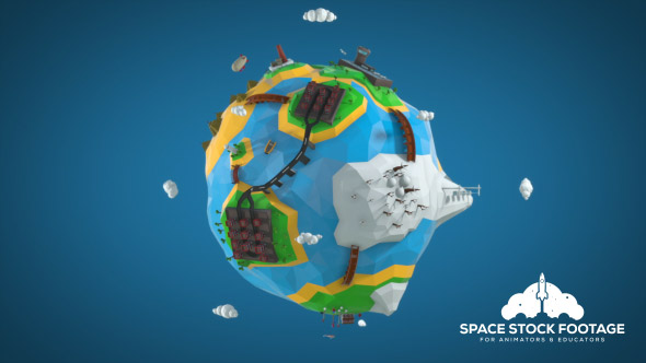Alhainen Poly Earth - Space Taustat Motion Graphics