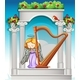 Fairy Playing Harp in Heaven
