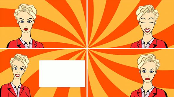 Business nainen Johtava Advertising Monologue. Set Footage. - Cartoons Taustat Motion Graphics