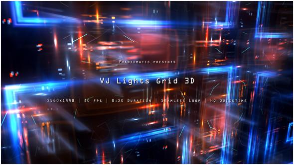 VJ Valot Grid 3 - 3D, Object Taustat Motion Graphics