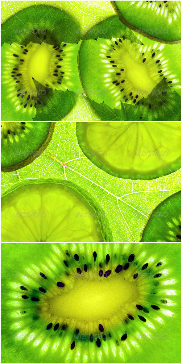 slices citrus on green natural background - Stock Photo - Images