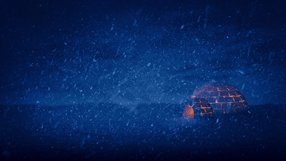 Igloo Lit Up On Stormy Night - Taustat Motion Graphics