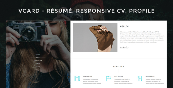 Download Vcard - Responsive CV WordPress Theme nulled download